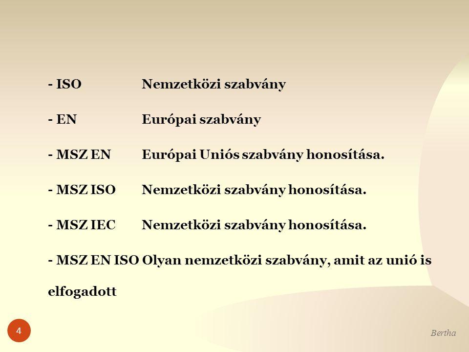 - ISO Nemzetközi szabvány - EN Európai szabvány - MSZ EN Európai Uniós szabvány honosítása.