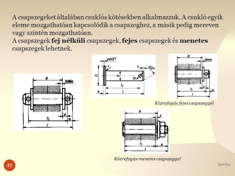 Bertha 42 A csapszegeket általában csuklós kötésekben alkalmazzuk.