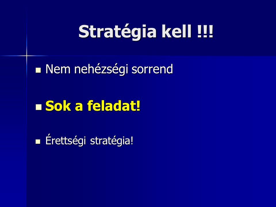 Stratégia kell !!.Nem nehézségi sorrend Nem nehézségi sorrend Sok a feladat.