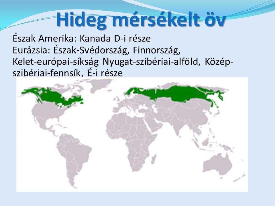 Hideg mérsékelt öv Észak Amerika: Kanada D-i része Eurázsia: Észak-Svédország, Finnország, Kelet-európai-síkság Nyugat-szibériai-alföld, Közép- szibériai-fennsík, É-i része