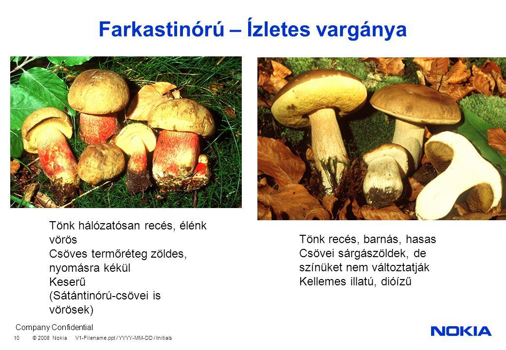 Company Confidential © 2008 Nokia V1-Filename.ppt / YYYY-MM-DD / Initials 10 Farkastinórú – Ízletes vargánya Tönk hálózatósan recés, élénk vörös Csöves termőréteg zöldes, nyomásra kékül Keserű (Sátántinórú-csövei is vörösek) Tönk recés, barnás, hasas Csövei sárgászöldek, de színüket nem változtatják Kellemes illatú, dióízű