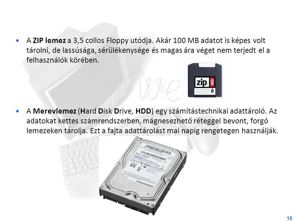 A ZIP lemez a 3,5 collos Floppy utódja. Akár 100 MB adatot is képes volt tárolni, de lassúsága, sérülékenysége és magas ára véget nem terjedt el a fel