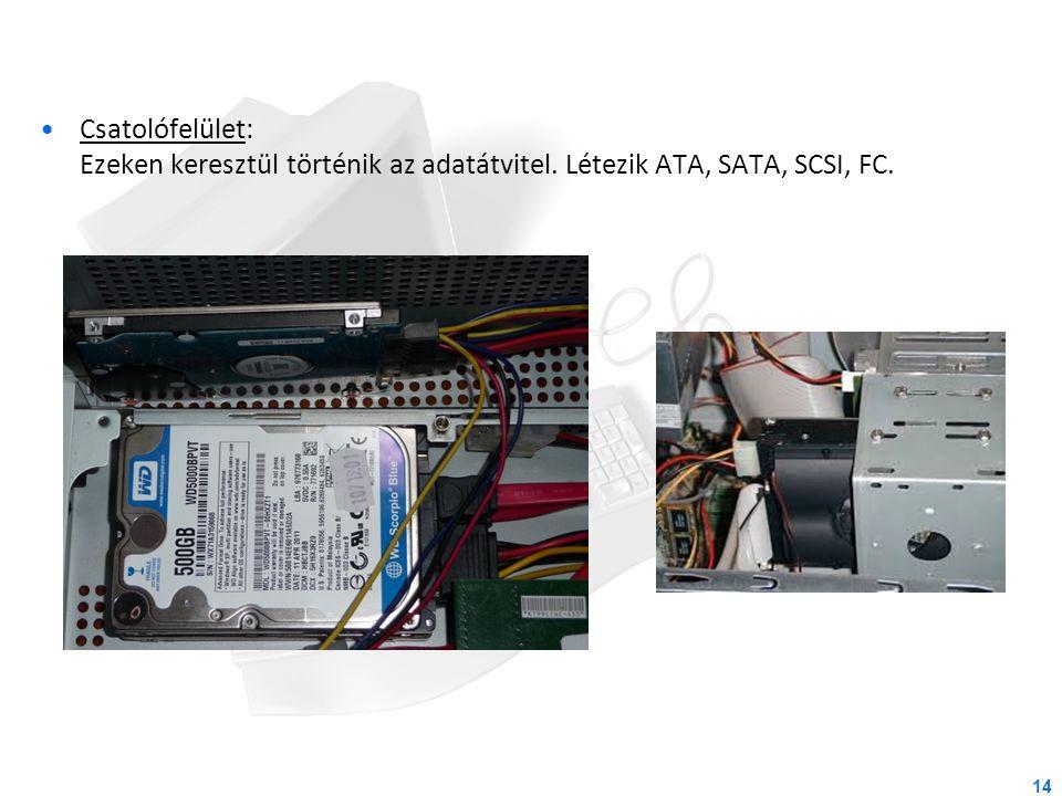 14 Csatolófelület: Ezeken keresztül történik az adatátvitel. Létezik ATA, SATA, SCSI, FC.
