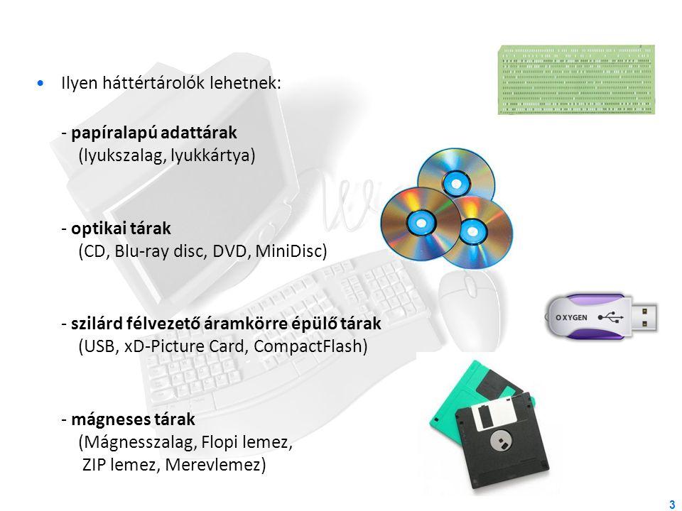 Ilyen háttértárolók lehetnek: - papíralapú adattárak (lyukszalag, lyukkártya) - optikai tárak (CD, Blu-ray disc, DVD, MiniDisc) - szilárd félvezető ár