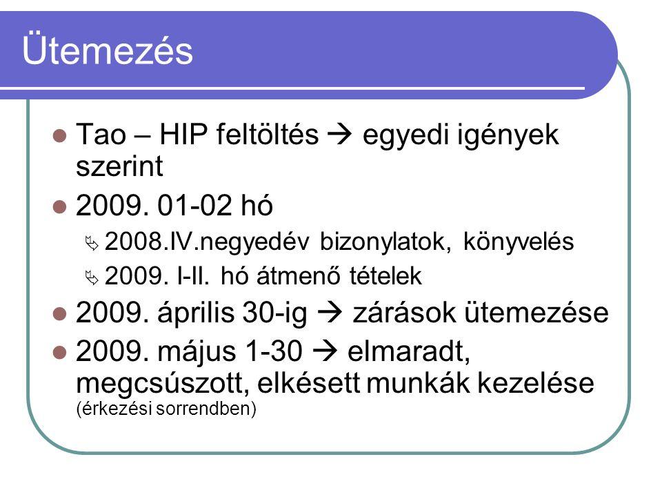 Ütemezés Tao – HIP feltöltés  egyedi igények szerint 2009.