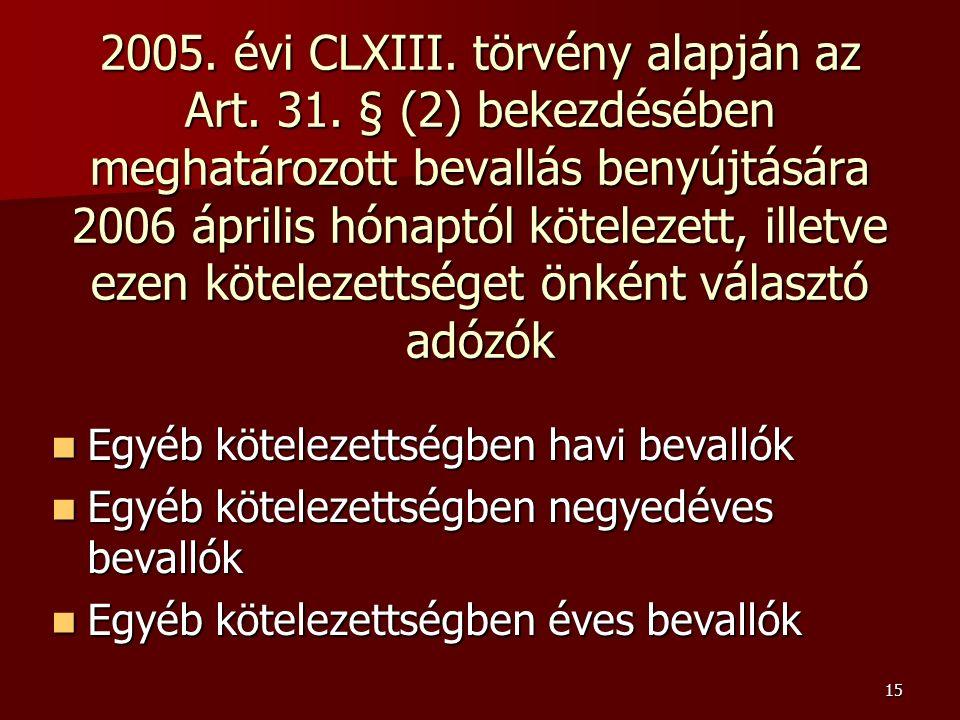 15 2005. évi CLXIII. törvény alapján az Art. 31.