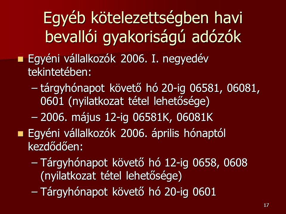 17 Egyéb kötelezettségben havi bevallói gyakoriságú adózók Egyéni vállalkozók 2006.