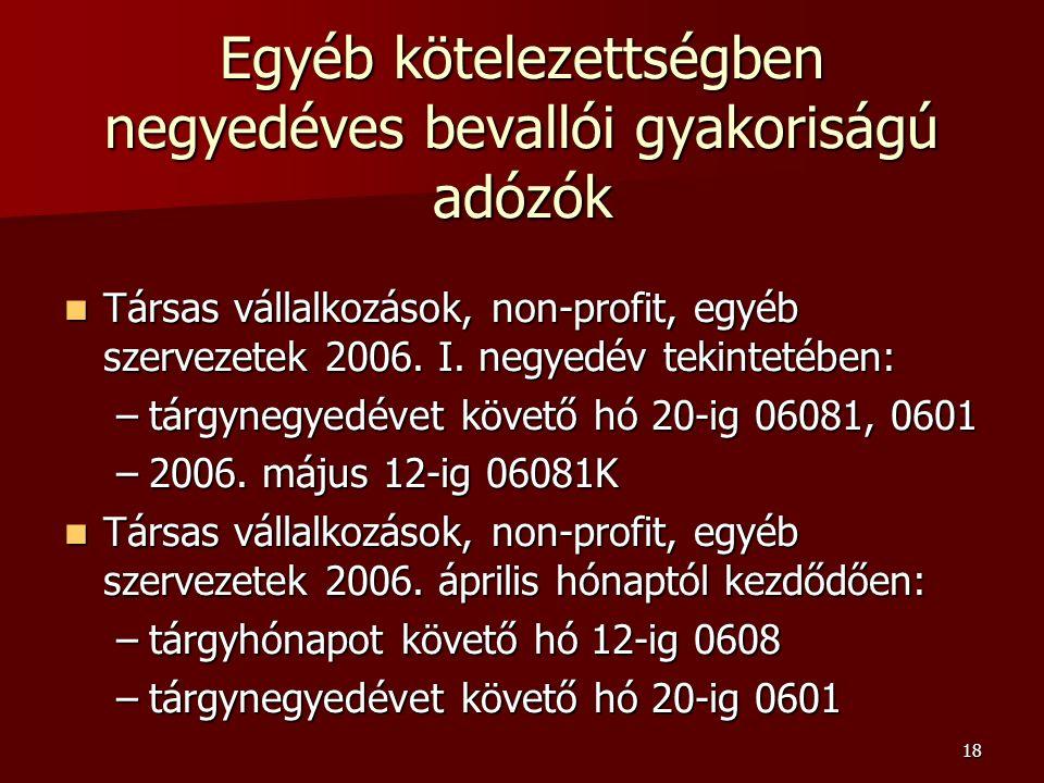 18 Egyéb kötelezettségben negyedéves bevallói gyakoriságú adózók Társas vállalkozások, non-profit, egyéb szervezetek 2006.