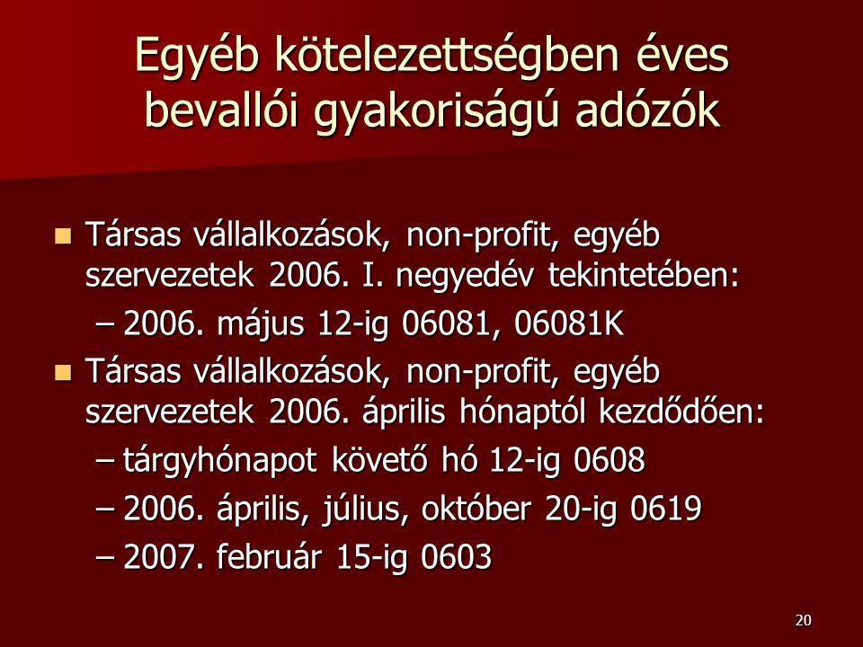 20 Egyéb kötelezettségben éves bevallói gyakoriságú adózók Társas vállalkozások, non-profit, egyéb szervezetek 2006.