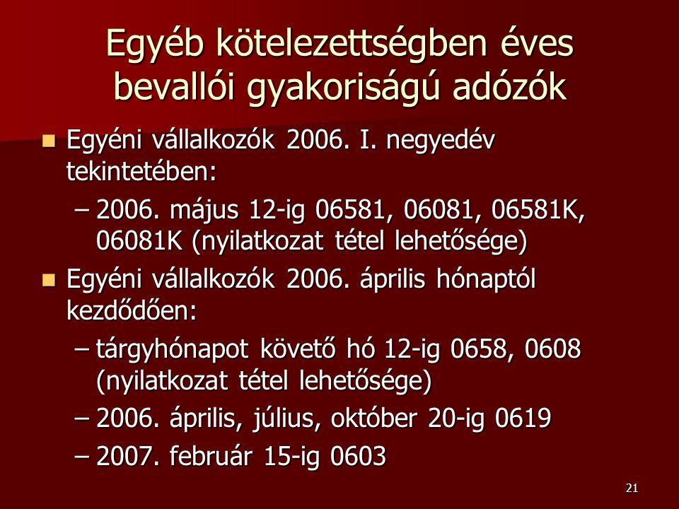 21 Egyéb kötelezettségben éves bevallói gyakoriságú adózók Egyéni vállalkozók 2006.