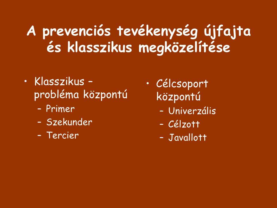 A prevenciós tevékenység újfajta és klasszikus megközelítése Klasszikus – probléma központú –Primer –Szekunder –Tercier Célcsoport központú –Univerzál