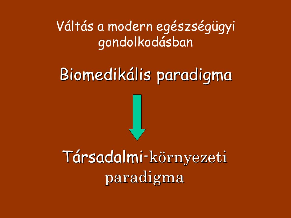 Biomedikális paradigma Társadalmi -környezeti paradigma Váltás a modern egészségügyi gondolkodásban