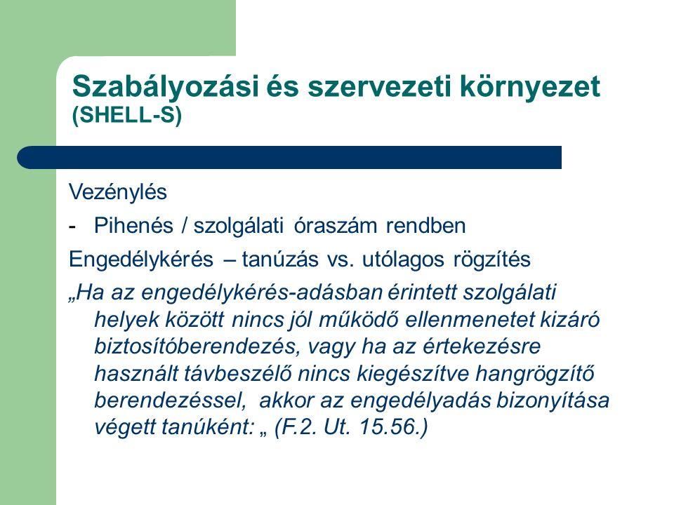 Szabályozási és szervezeti környezet (SHELL-S) Vezénylés -Pihenés / szolgálati óraszám rendben Engedélykérés – tanúzás vs.