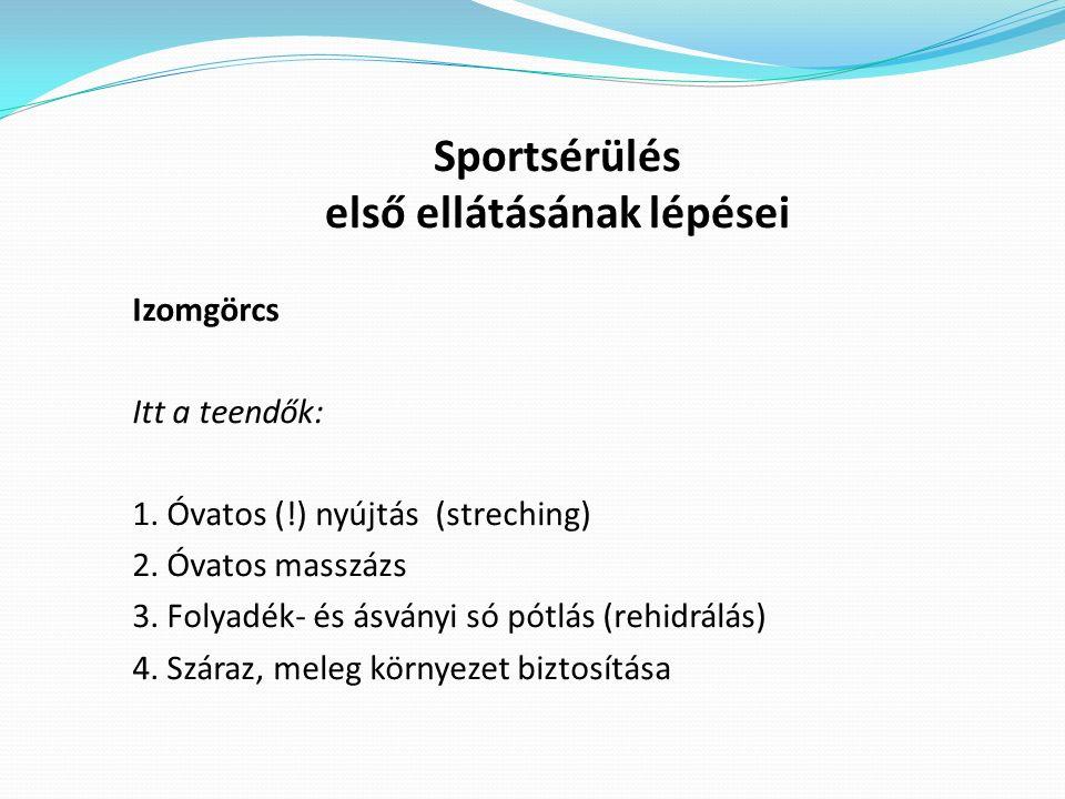 Sportsérülés első ellátásának lépései Izomgörcs Itt a teendők: 1.
