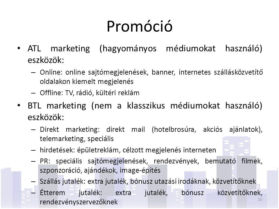 Promóció ATL marketing (hagyományos médiumokat használó) eszközök: – Online: online sajtómegjelenések, banner, internetes szállásközvetítő oldalakon kiemelt megjelenés – Offline: TV, rádió, kültéri reklám BTL marketing (nem a klasszikus médiumokat használó) eszközök: – Direkt marketing: direkt mail (hotelbrosúra, akciós ajánlatok), telemarketing, speciális – hirdetések: épületreklám, célzott megjelenés interneten – PR: speciális sajtómegjelenések, rendezvények, bemutató filmek, szponzoráció, ajándékok, image-építés – Szállás jutalék: extra jutalék, bónusz utazási irodáknak, közvetítőknek – Étterem jutalék: extra jutalék, bónusz közvetítőknek, rendezvényszervezőknek 10