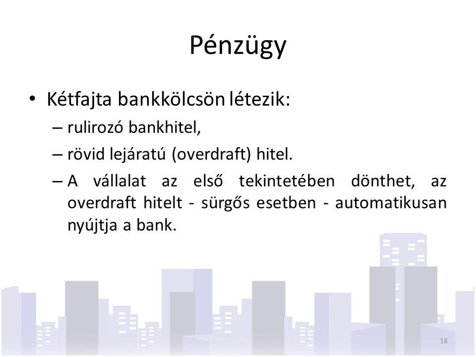 Pénzügy Kétfajta bankkölcsön létezik: – rulirozó bankhitel, – rövid lejáratú (overdraft) hitel.