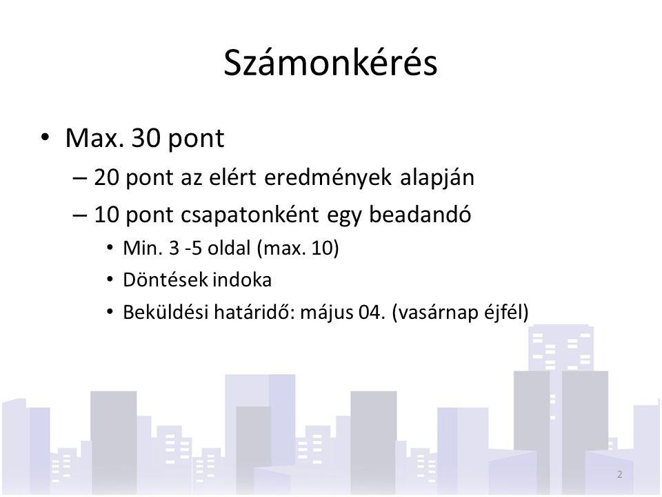 Számonkérés Max. 30 pont – 20 pont az elért eredmények alapján – 10 pont csapatonként egy beadandó Min. 3 -5 oldal (max. 10) Döntések indoka Beküldési