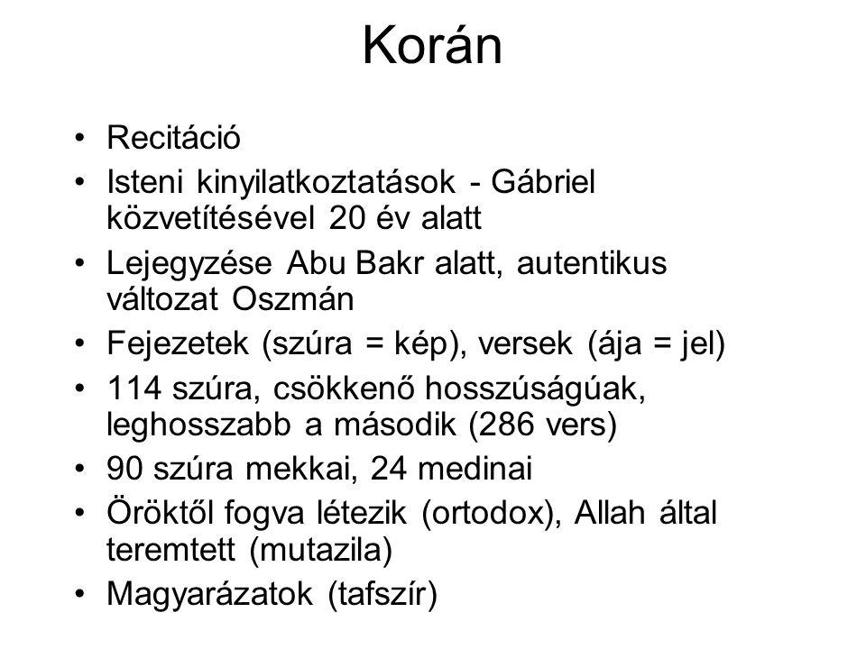 Korán Recitáció Isteni kinyilatkoztatások - Gábriel közvetítésével 20 év alatt Lejegyzése Abu Bakr alatt, autentikus változat Oszmán Fejezetek (szúra = kép), versek (ája = jel) 114 szúra, csökkenő hosszúságúak, leghosszabb a második (286 vers) 90 szúra mekkai, 24 medinai Öröktől fogva létezik (ortodox), Allah által teremtett (mutazila) Magyarázatok (tafszír)