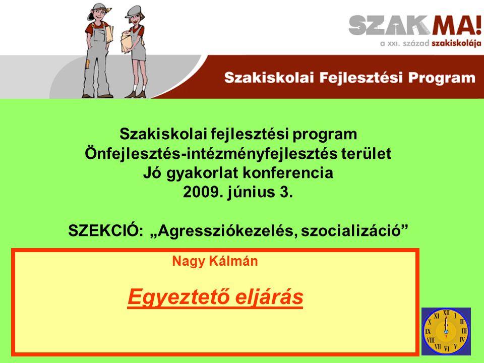 Szakiskolai fejlesztési program Önfejlesztés-intézményfejlesztés terület Jó gyakorlat konferencia 2009.