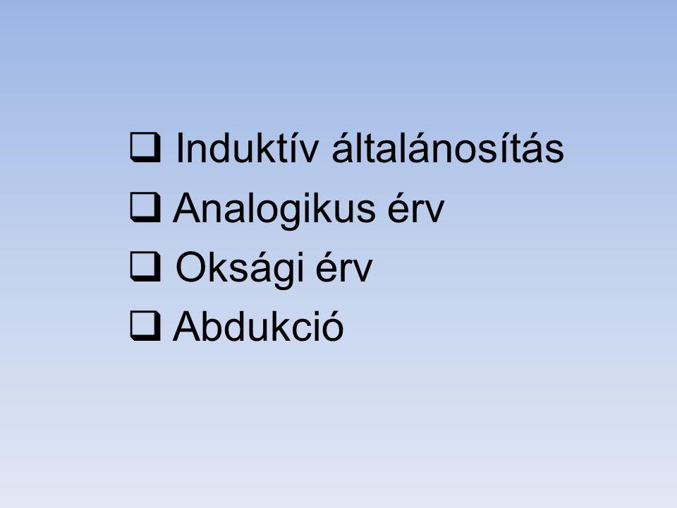  Induktív általánosítás  Analogikus érv  Oksági érv  Abdukció