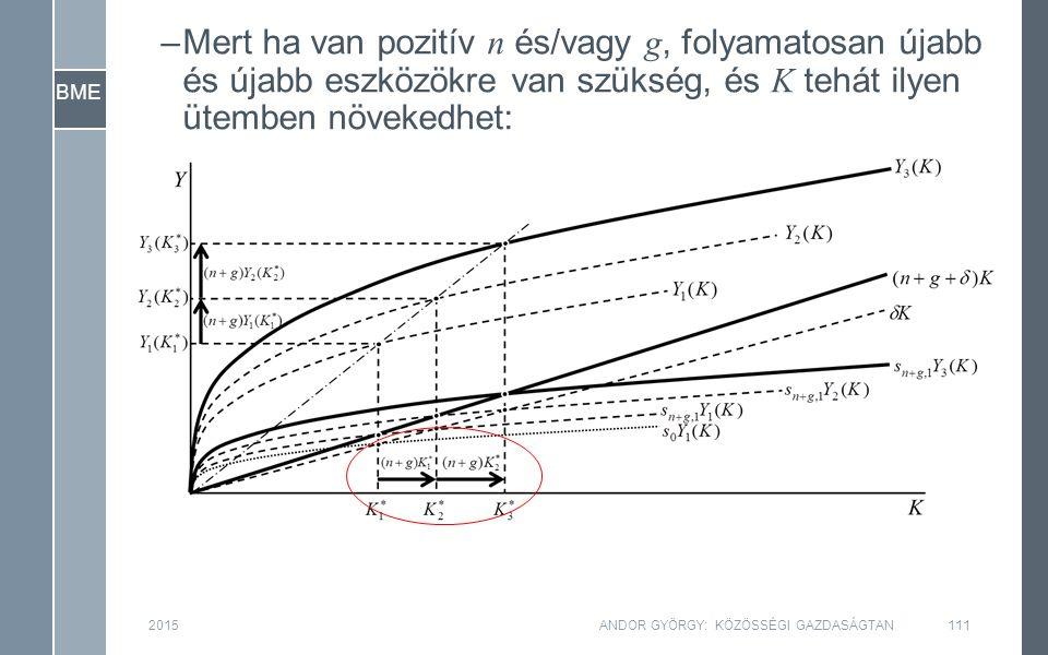 BME 2015ANDOR GYÖRGY: KÖZÖSSÉGI GAZDASÁGTAN111 –Mert ha van pozitív n és/vagy g, folyamatosan újabb és újabb eszközökre van szükség, és K tehát ilyen