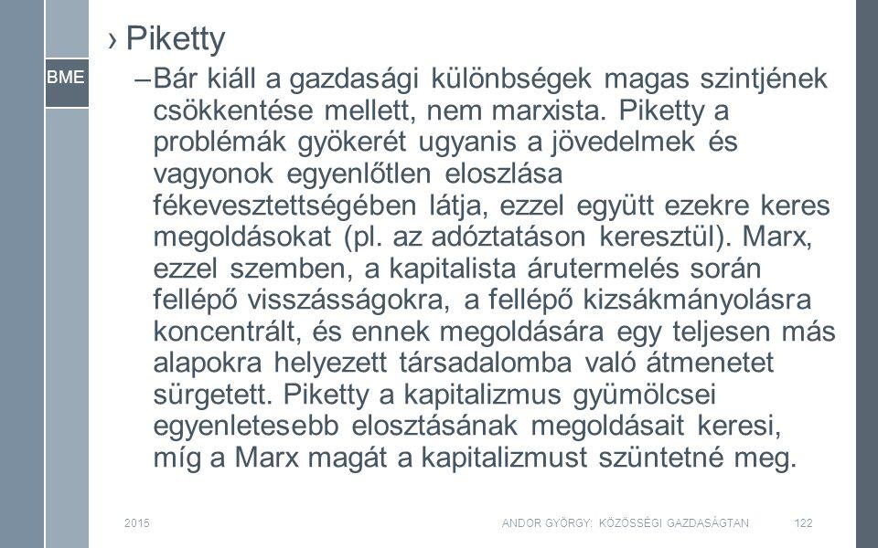 BME 2015ANDOR GYÖRGY: KÖZÖSSÉGI GAZDASÁGTAN122 ›Piketty –Bár kiáll a gazdasági különbségek magas szintjének csökkentése mellett, nem marxista. Piketty