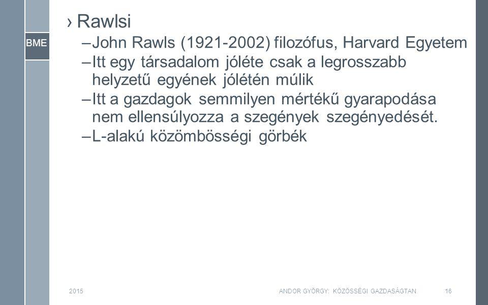 BME ›Rawlsi –John Rawls (1921-2002) filozófus, Harvard Egyetem –Itt egy társadalom jóléte csak a legrosszabb helyzetű egyének jólétén múlik –Itt a gaz