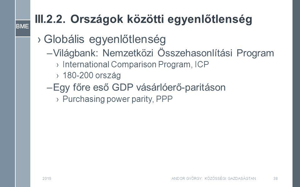 BME 2015ANDOR GYÖRGY: KÖZÖSSÉGI GAZDASÁGTAN38 ›Globális egyenlőtlenség –Világbank: Nemzetközi Összehasonlítási Program ›International Comparison Progr