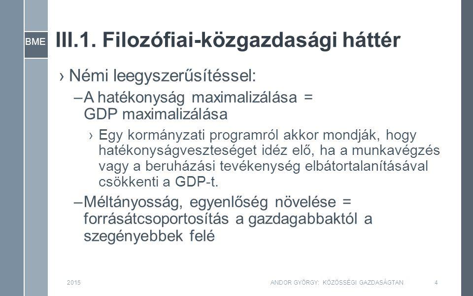 BME III.1. Filozófiai-közgazdasági háttér 2015ANDOR GYÖRGY: KÖZÖSSÉGI GAZDASÁGTAN4 ›Némi leegyszerűsítéssel: –A hatékonyság maximalizálása = GDP maxim