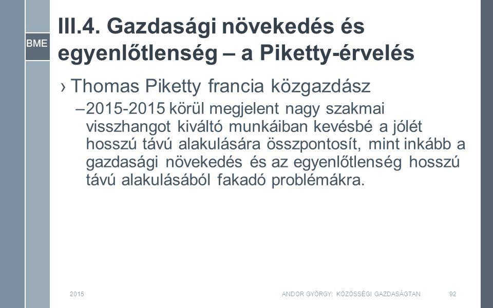BME III.4. Gazdasági növekedés és egyenlőtlenség – a Piketty-érvelés 2015ANDOR GYÖRGY: KÖZÖSSÉGI GAZDASÁGTAN92 ›Thomas Piketty francia közgazdász –201
