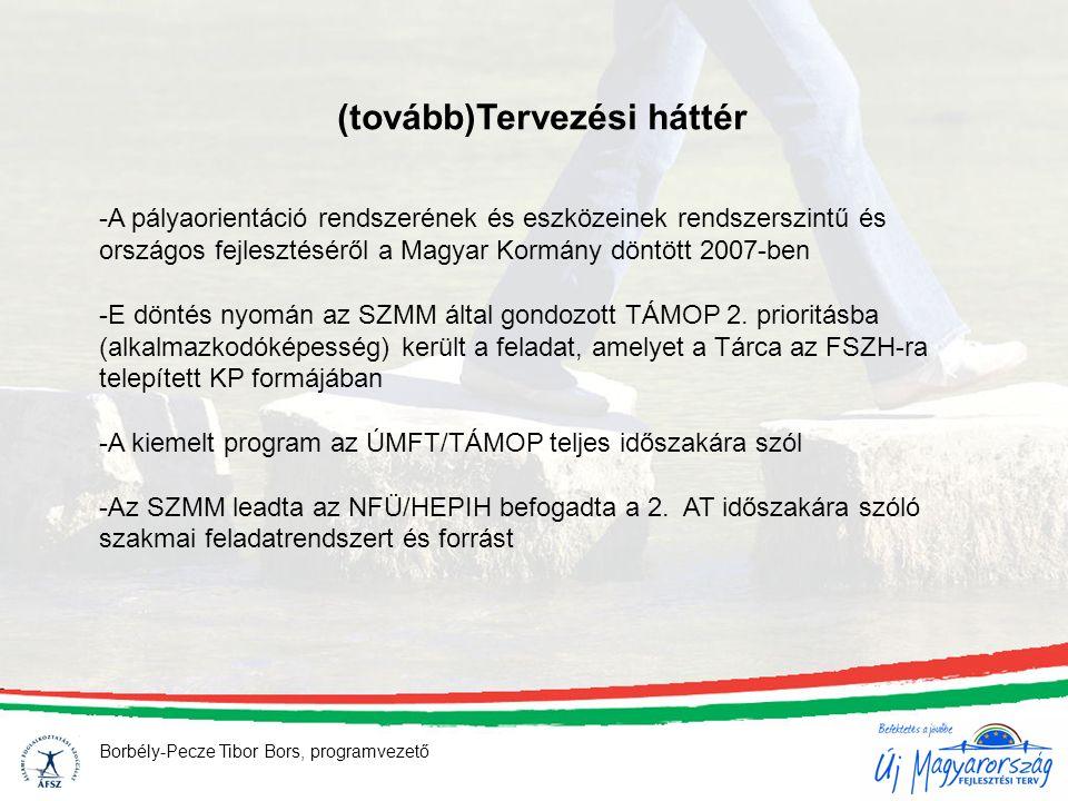 (tovább)Tervezési háttér -A pályaorientáció rendszerének és eszközeinek rendszerszintű és országos fejlesztéséről a Magyar Kormány döntött 2007-ben -E döntés nyomán az SZMM által gondozott TÁMOP 2.