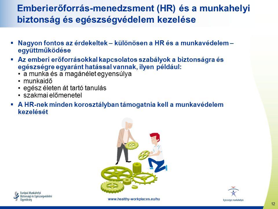 12 www.healthy-workplaces.eu/hu Emberierőforrás-menedzsment (HR) és a munkahelyi biztonság és egészségvédelem kezelése  Nagyon fontos az érdekeltek – különösen a HR és a munkavédelem – együttműködése  Az emberi erőforrásokkal kapcsolatos szabályok a biztonságra és egészségre egyaránt hatással vannak, ilyen például: a munka és a magánélet egyensúlya munkaidő egész életen át tartó tanulás szakmai előmenetel  A HR-nek minden korosztályban támogatnia kell a munkavédelem kezelését