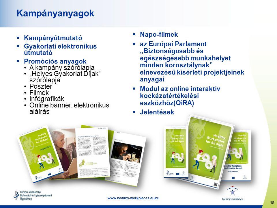 """18 www.healthy-workplaces.eu/hu Kampányanyagok  Kampányútmutató  Gyakorlati elektronikus útmutató  Promóciós anyagok A kampány szórólapja """"Helyes Gyakorlat Díjak szórólapja Poszter Filmek Infógrafikák Online banner, elektronikus aláírás  Napo-filmek  az Európai Parlament """"Biztonságosabb és egészségesebb munkahelyet minden korosztálynak elnevezésű kísérleti projektjeinek anyagai  Modul az online interaktív kockázatértékelési eszközhöz(OiRA)  Jelentések"""