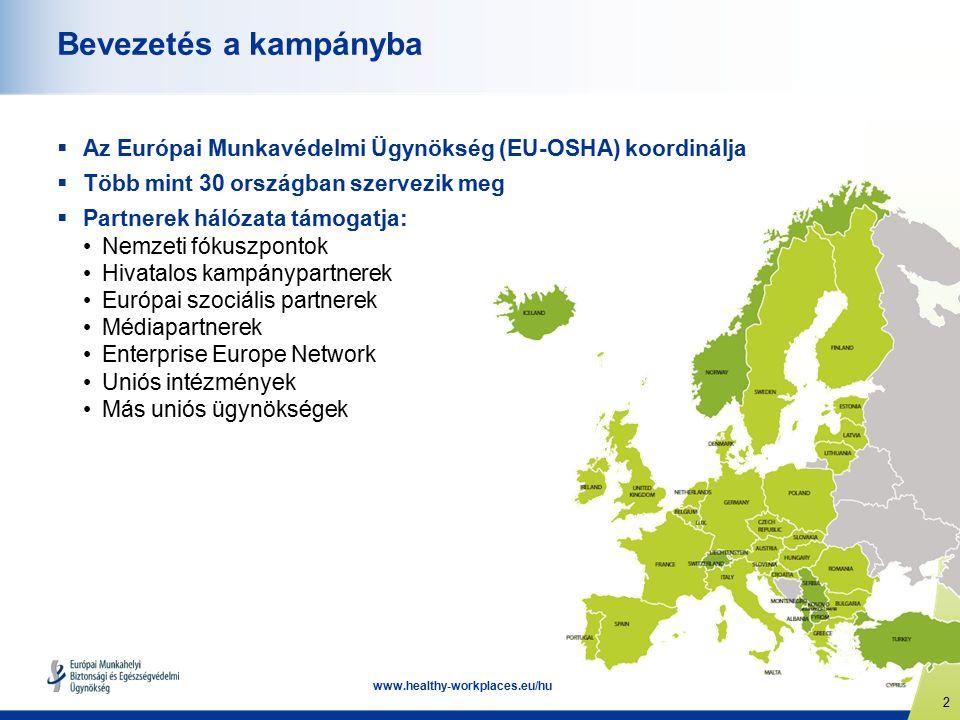 2 www.healthy-workplaces.eu/hu Bevezetés a kampányba  Az Európai Munkavédelmi Ügynökség (EU-OSHA) koordinálja  Több mint 30 országban szervezik meg  Partnerek hálózata támogatja: Nemzeti fókuszpontok Hivatalos kampánypartnerek Európai szociális partnerek Médiapartnerek Enterprise Europe Network Uniós intézmények Más uniós ügynökségek