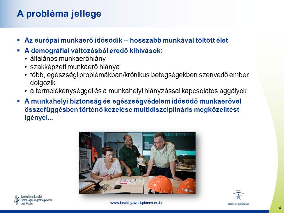 4 www.healthy-workplaces.eu/hu A probléma jellege  Az európai munkaerő idősödik – hosszabb munkával töltött élet  A demográfiai változásból eredő kihívások: általános munkaerőhiány szakképzett munkaerő hiánya több, egészségi problémákban/krónikus betegségekben szenvedő ember dolgozik a termelékenységgel és a munkahelyi hiányzással kapcsolatos aggályok  A munkahelyi biztonság és egészségvédelem idősödő munkaerővel összefüggésben történő kezelése multidiszciplináris megközelítést igényel...