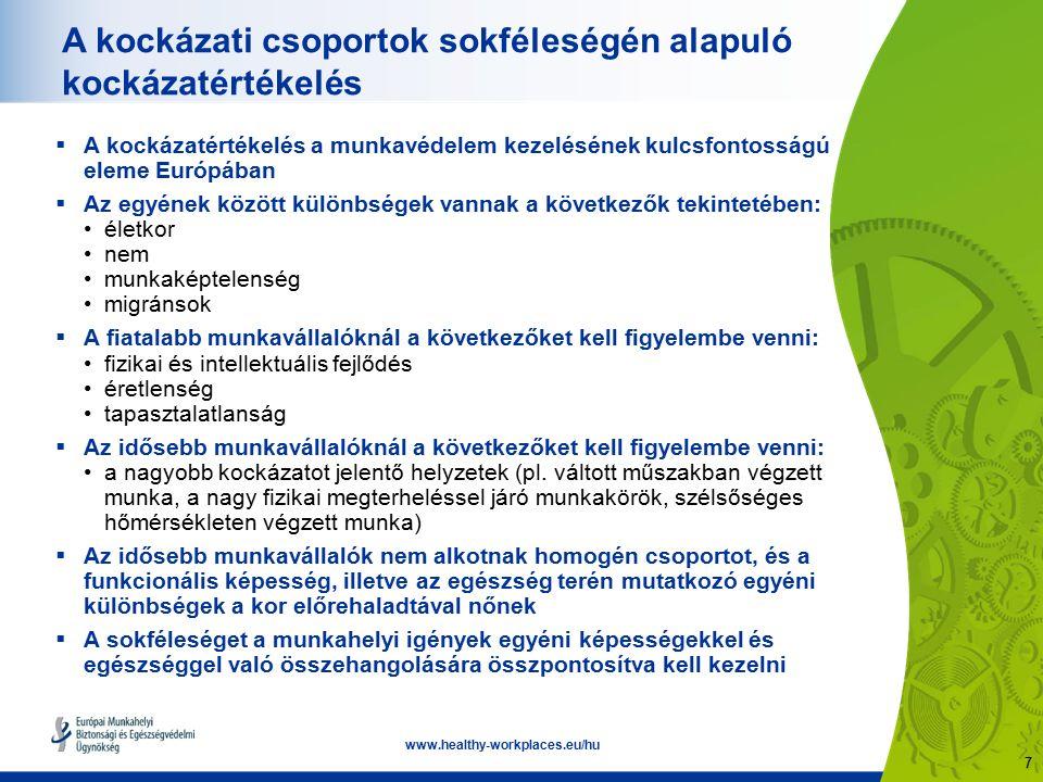 7 www.healthy-workplaces.eu/hu A kockázati csoportok sokféleségén alapuló kockázatértékelés  A kockázatértékelés a munkavédelem kezelésének kulcsfontosságú eleme Európában  Az egyének között különbségek vannak a következők tekintetében: életkor nem munkaképtelenség migránsok  A fiatalabb munkavállalóknál a következőket kell figyelembe venni: fizikai és intellektuális fejlődés éretlenség tapasztalatlanság  Az idősebb munkavállalóknál a következőket kell figyelembe venni: a nagyobb kockázatot jelentő helyzetek (pl.