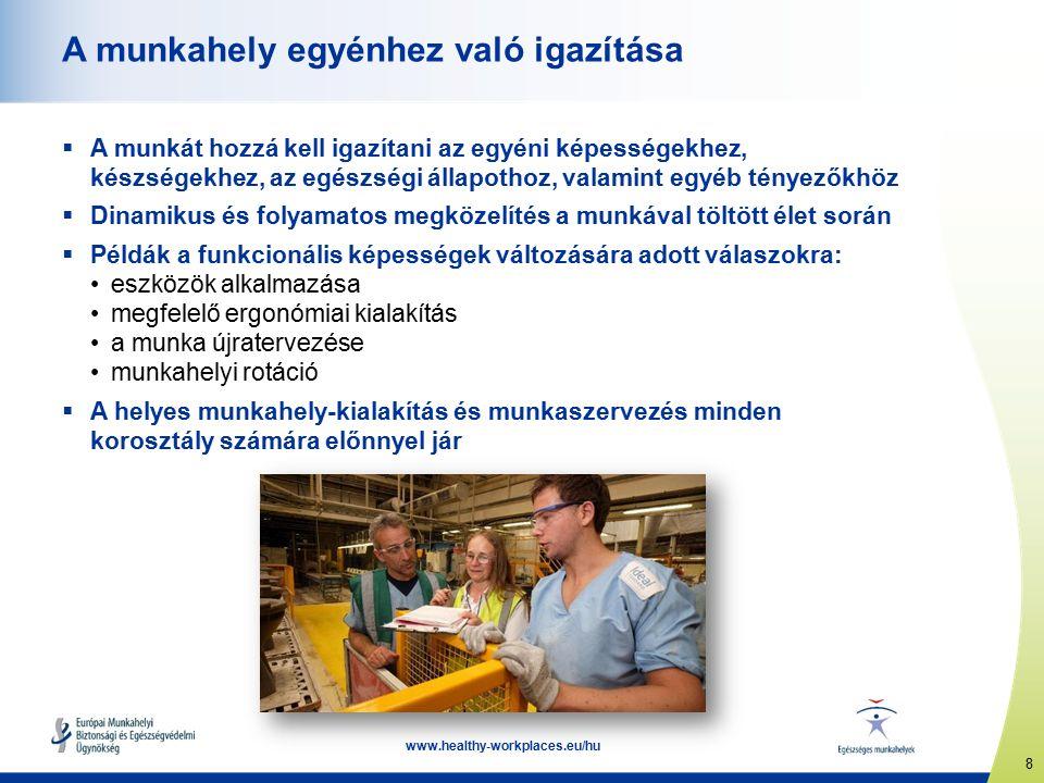 8 www.healthy-workplaces.eu/hu A munkahely egyénhez való igazítása  A munkát hozzá kell igazítani az egyéni képességekhez, készségekhez, az egészségi állapothoz, valamint egyéb tényezőkhöz  Dinamikus és folyamatos megközelítés a munkával töltött élet során  Példák a funkcionális képességek változására adott válaszokra: eszközök alkalmazása megfelelő ergonómiai kialakítás a munka újratervezése munkahelyi rotáció  A helyes munkahely-kialakítás és munkaszervezés minden korosztály számára előnnyel jár
