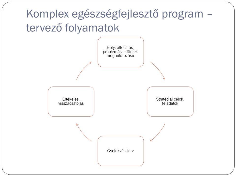 Komplex egészségfejlesztő program – tervező folyamatok Helyzetfeltárás, problémás területek meghatározása Stratégiai célok, feladatok Cselekvési terv Értékelés, visszacsatolás