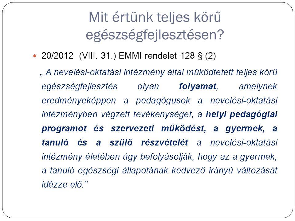 Mit értünk teljes körű egészségfejlesztésen. 20/2012 (VIII.