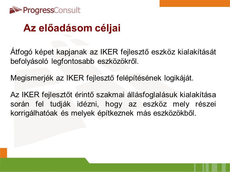 Az előadásom céljai Átfogó képet kapjanak az IKER fejlesztő eszköz kialakítását befolyásoló legfontosabb eszközökről.