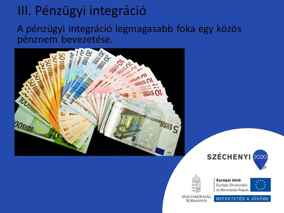 III. Pénzügyi integráció A pénzügyi integráció legmagasabb foka egy közös pénznem bevezetése.