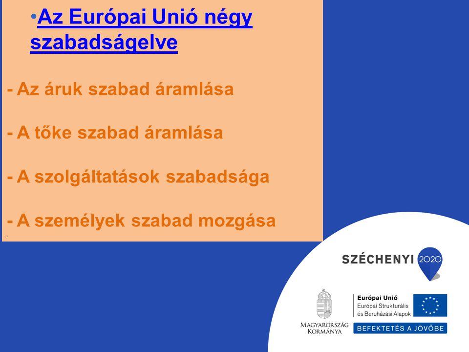 Az Európai Unió négy szabadságelveAz Európai Unió négy szabadságelve - Az áruk szabad áramlása - A tőke szabad áramlása - A szolgáltatások szabadsága - A személyek szabad mozgása.