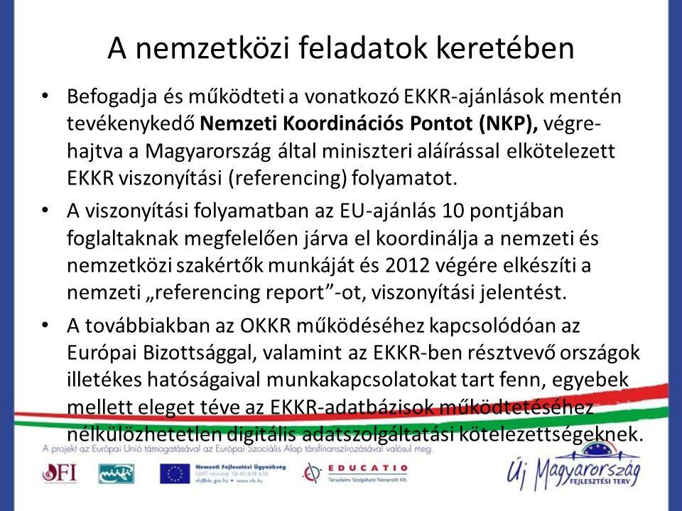 A nemzetközi feladatok keretében Befogadja és működteti a vonatkozó EKKR-ajánlások mentén tevékenykedő Nemzeti Koordinációs Pontot (NKP), végre- hajtva a Magyarország által miniszteri aláírással elkötelezett EKKR viszonyítási (referencing) folyamatot.