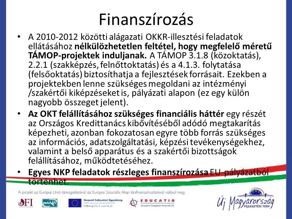 Finanszírozás A 2010-2012 közötti alágazati OKKR-illesztési feladatok ellátásához nélkülözhetetlen feltétel, hogy megfelelő méretű TÁMOP-projektek induljanak.