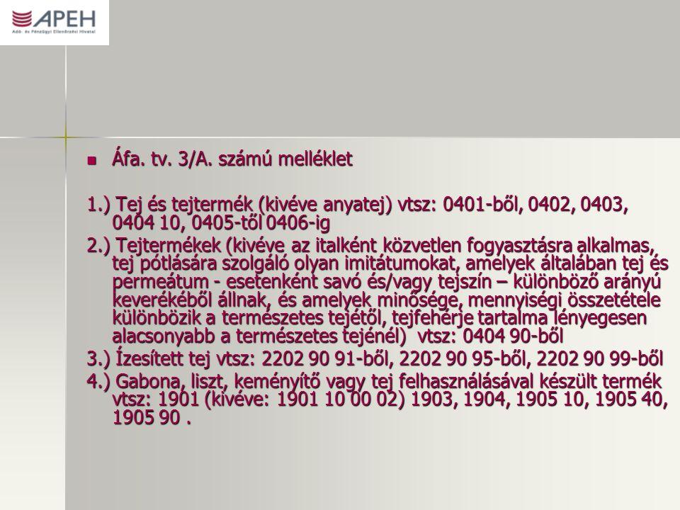 Áfa. tv. 3/A. számú melléklet Áfa. tv. 3/A.