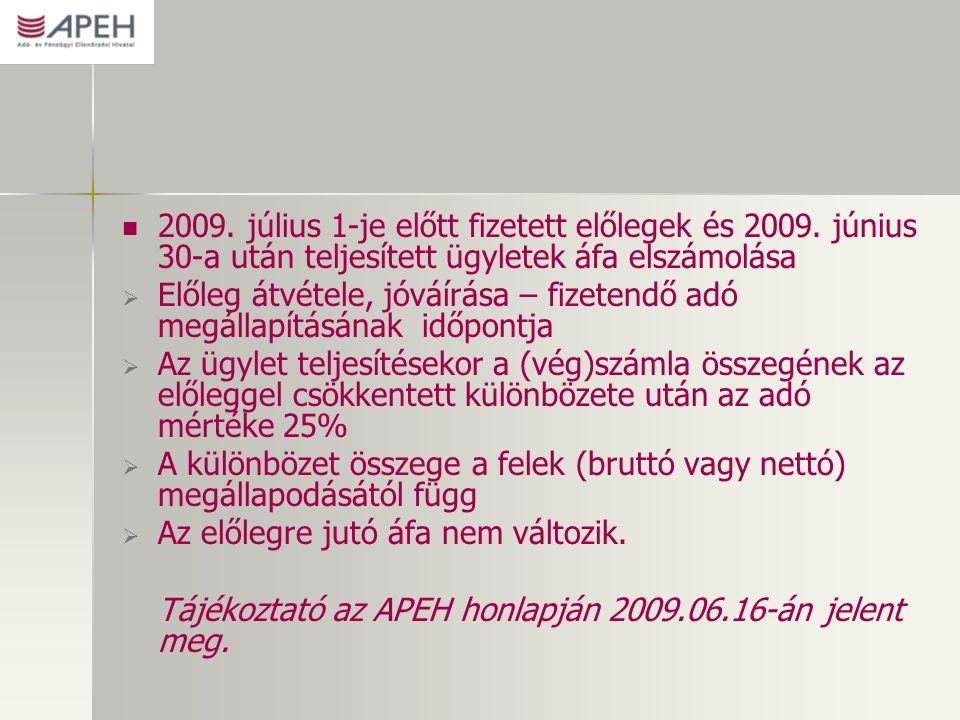 2009. július 1-je előtt fizetett előlegek és 2009.