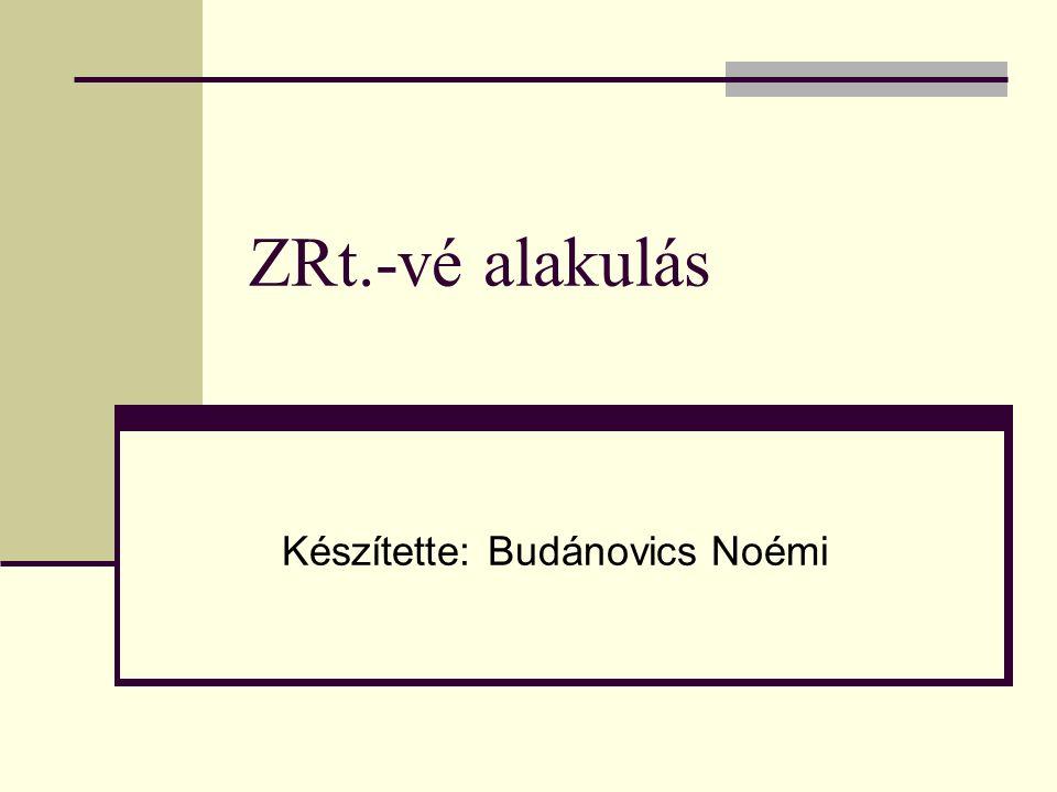 ZRt.-vé alakulás I.Tulajdonosi elhatározás II. Megvalósíthatósági tanulmány III.