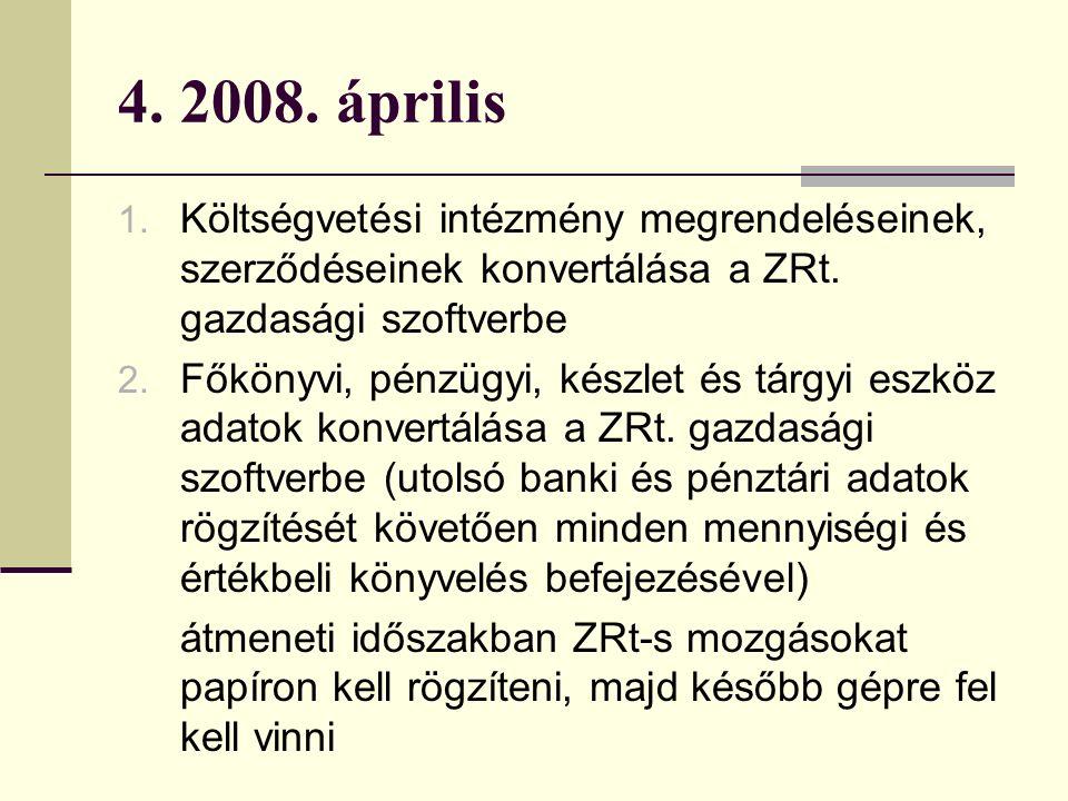 4. 2008. április 1. Költségvetési intézmény megrendeléseinek, szerződéseinek konvertálása a ZRt.