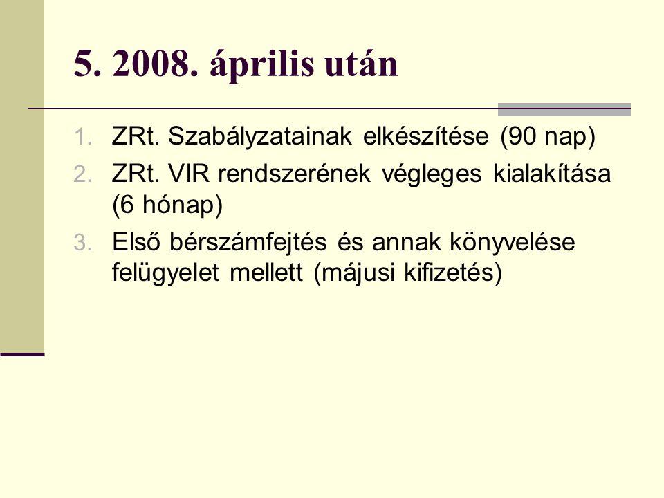 5. 2008. április után 1. ZRt. Szabályzatainak elkészítése (90 nap) 2.