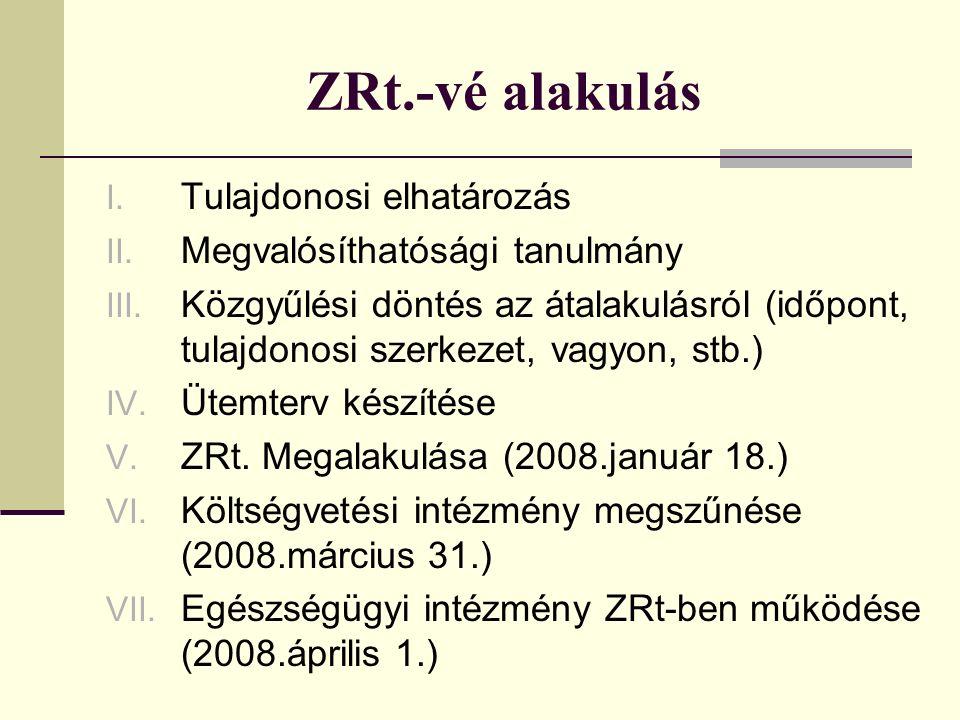 ZRt.-vé alakulás I. Tulajdonosi elhatározás II. Megvalósíthatósági tanulmány III.